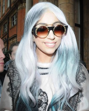 Lady Gaga Gray Hair With Blue Streaks