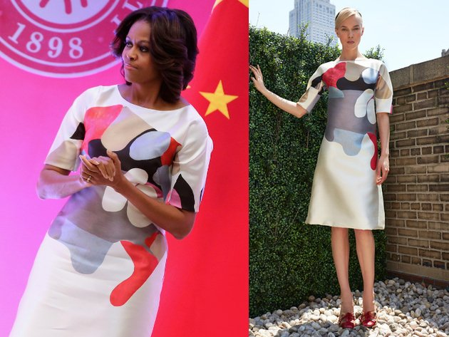 Michelle Obama Carolina Herrera Graphic Print Dress