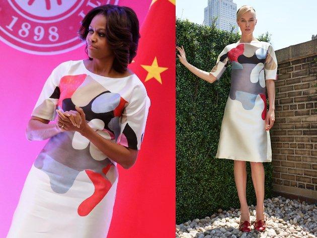 Michelle Obama Carolina Herrera Graphic Print Dress