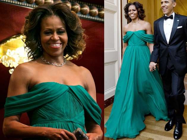 Michelle Obama Marchesa Green Gown
