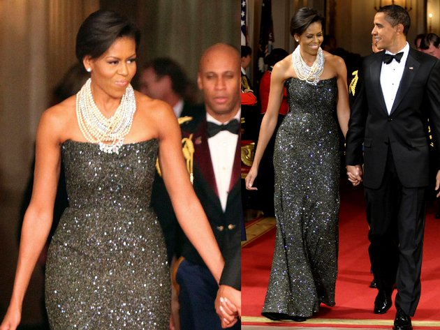 Michelle Obama Peter Soronen Sequin Gown